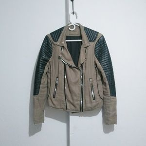 Blank NYC Moto Jacket Olive green with faux leathe